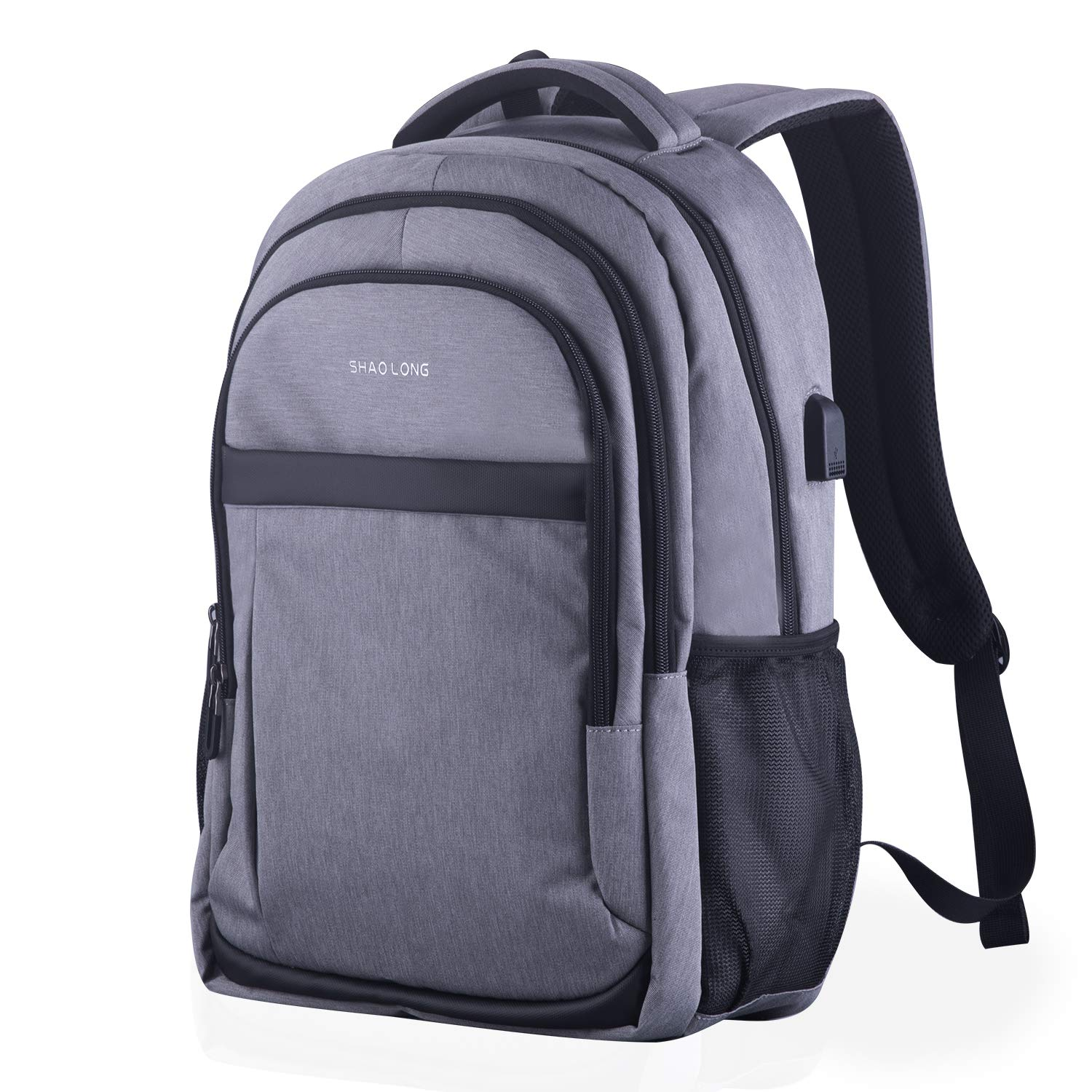 Travel Laptop Backpack, Gebnuit Anti-Theft Business Student Laptop Backpack with USB Charging Port, Slim Durable Water Resistant College School Computer Bag for Women & Men Fits 15.6 Inch Laptop-Grey