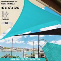 "TANG Sunshades Depot 16'x16'x22.6' Turquoise Green Sun Shade Sail 180 GSM with 6"" in Hardware Kit Right Triangle UV Block Outdoor Canopy Patio Garden Yard Pergola Park School Custom"