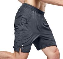 NICEWIN Men's 7-inch Running Shorts Quick Dry Lightweight Zipper Pocket Short Pants for Crossfit Athletic Gym Workout