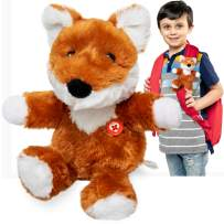 GoPals Stuffed Animal Plush Toy - Soft Attach to Backpack, car seat Belt, Bike and Scooters. Best Gifts for Kids. (Jack The Fox)