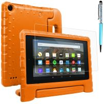 Case & Screen Protector & Stylus Compatible Amazon Kindle 7, AFUNTA Convertible Handle Stand EVA Protective Case, PET Plastic Cover and Touch Pen 7 inch Tablet (5th Generation 2015 Release)-Orange