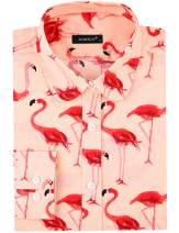 DOKKIA Women's Tops Tropical Casual Blouses Long Sleeve Work Button Up Dress Beach Aloha Hawaiian Shirts (Flamingo Pink Red Beige, XX-Large)