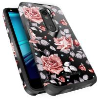 Droid Turbo 2 Case, Miss Arts Slim Anti-Scratch Protective Kit with [Drop Protection] Dual Layer Hybrid Protective Cover Case for Verizon Motorola Droid Turbo 2 -Rose Gold Flower/Black