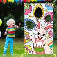 Ivenf Easter Toss Game, Eggs and Bunny Themed Banner with 4 Bean Bags, Fun Yard Game Supplies for Easter Party, Kids School Home Office Decorations
