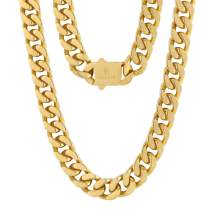 KRKC&CO 12mm/14mm Mens Cuban Link Chains, 18k Gold Miami Cuban Link Curb Chain, Hip Hop Jewelry, Solid No Tarnish Necklace, Durable Street-wear Hip Hop Chains for Men, 18 20 22 24 26inches