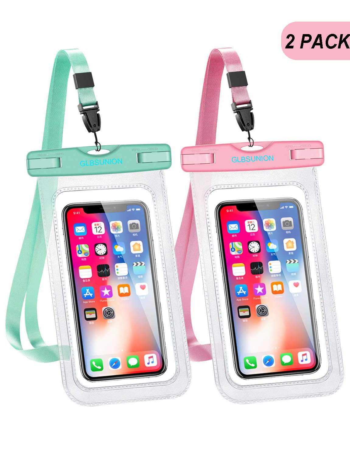 """GLBSUNION Universal Waterproof Phone Case, Dry Bag Water Proof Cell Phone Pouch Protective Pouch for Travel Kayaking Beach Diving Pool Compatible for iPhone 11 Pro Xs Max XR X 8 7 Galaxy up to 6.9"""""""