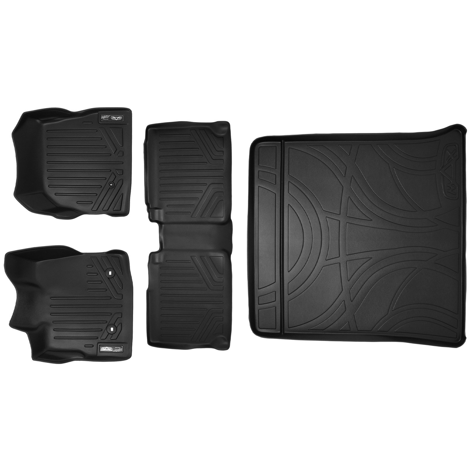 Floor Mats - All-weather Thermoplastic Rubber, Black 3-pc., Supercrew, Dual Retention, W/subwoofer