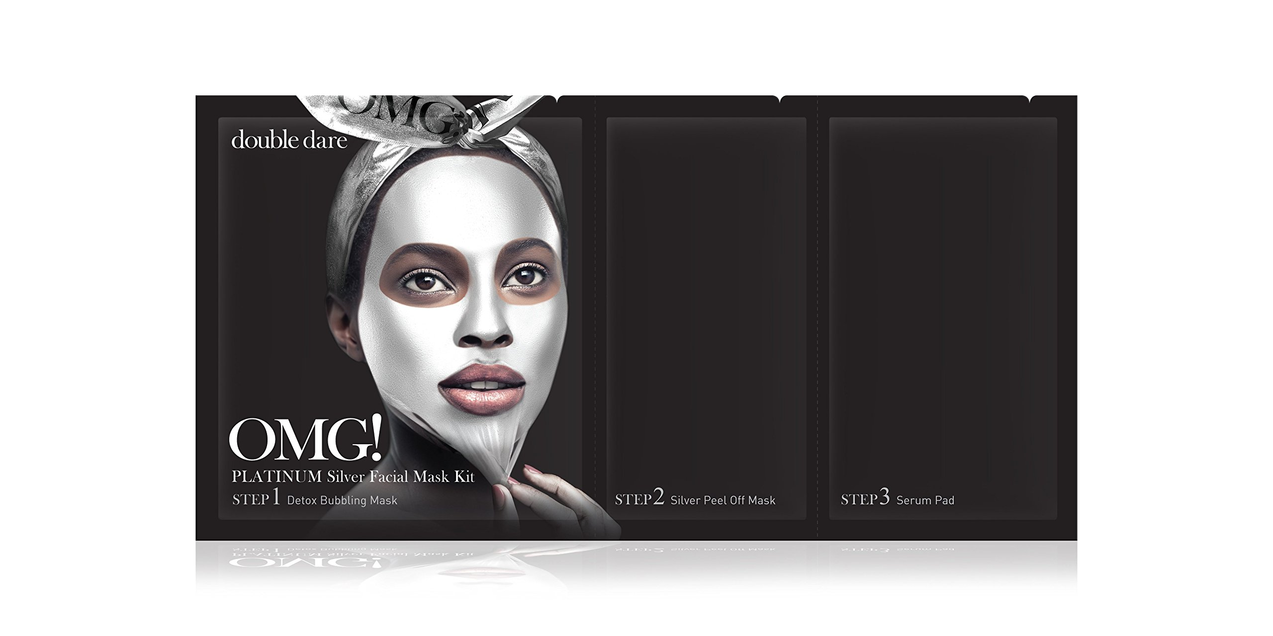 double dare OMG! Platinum Silver Facial Mask Kit - Brightening and Skin Regeneration with Diamond Powder