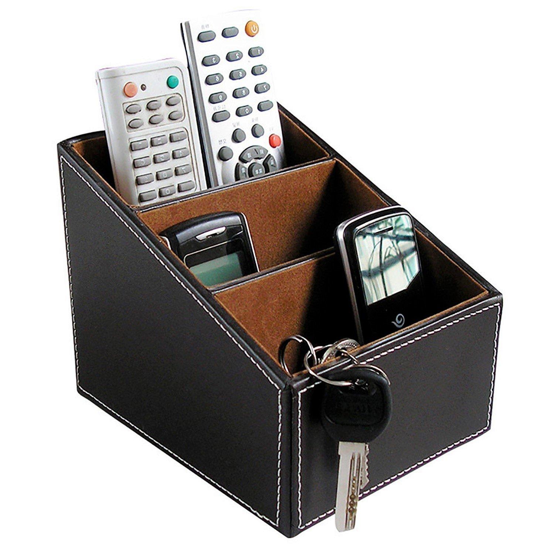 Bargain Crusader Brown PU Leather Remote Controller Holder TV Guide CD Controller Organizer Remote Controller Caddy Stationery Organizer Stationery Caddy Stationery Holder