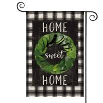 AVOIN Watercolor Buffalo Plaid Magnolia Wreath Garden Flag Vertical Double Sized, Seasonal Spring Home Sweet Rustic Yard Outdoor Decoration 12.5 x 18 Inch