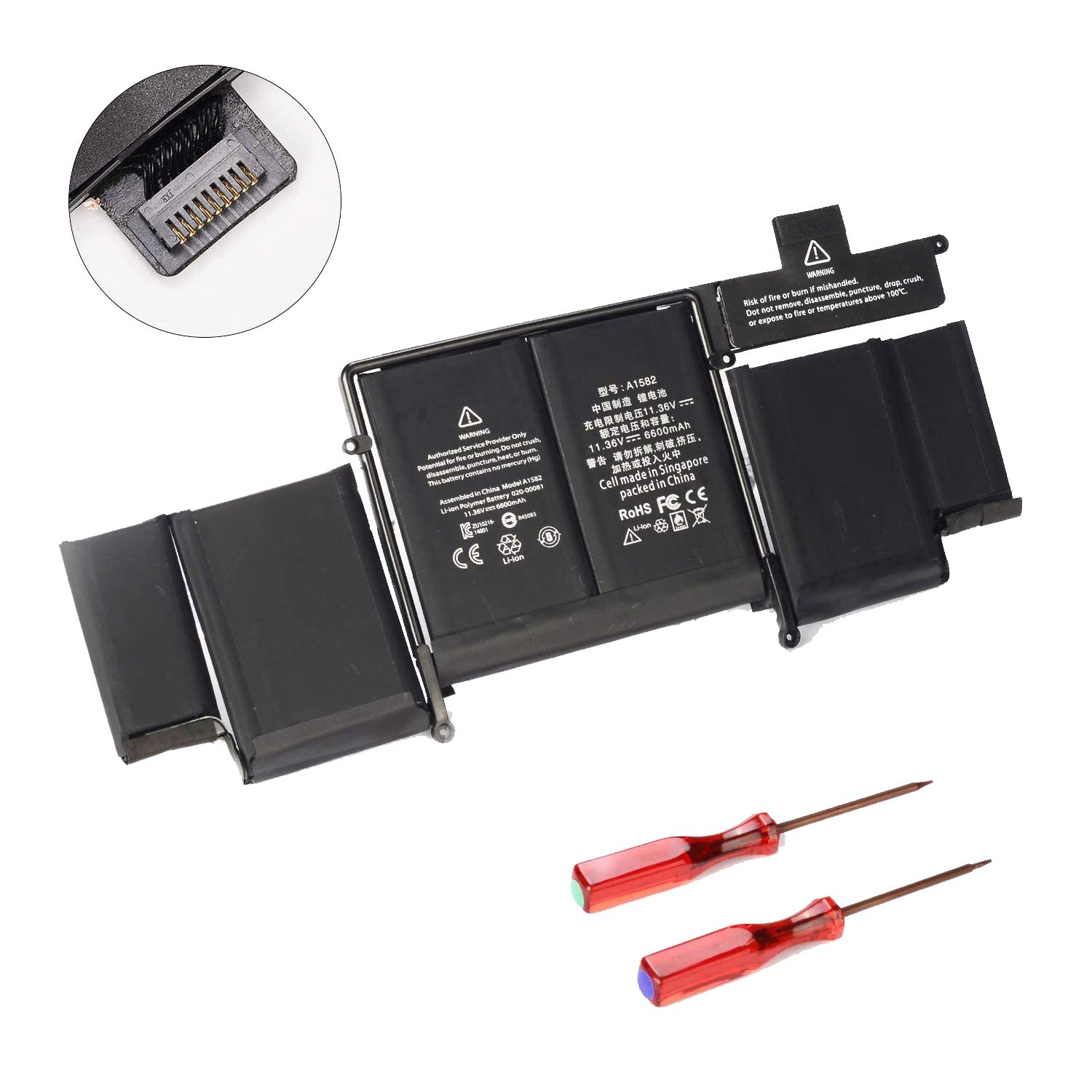 """POWERWOO New Laptop Battery A1582 for 2015 MacBook Pro 13"""" ME864 ME865; A1493(2013 2014 Version) Battery for A1502 with 2 Screwdrivers [6600mAh/ 11.34V /74.9Wh]"""