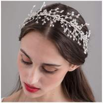 SWEETV Rhinestone Wedding Headband Silver, Bridal Headpiece Tiara Wedding Hair Accessories for Brides, Bridesmaid