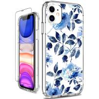 GiiKa iPhone 11 Case with Screen Protector, Clear Heavy Duty Protective Case Floral Girls Women Shockproof Hard PC Back Case with Slim TPU Bumper Cover Phone Case for iPhone 11, Blue Flowers