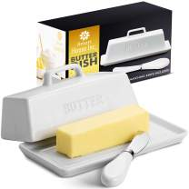 Ceramic Butter Dish Set with Lid and Knife - Decorative Butter Stick Holder with Handle for 1 Stick of Butter - Microwave Safe, Dishwasher Safe - Anti-Scratch Stickers Included