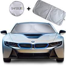 "Shade-It Car Windshield Sun Shade + Free Product Durable 210T Nylon Polyester Heat Block & UV Protection Sunshades - Sunlight Blocker - Reflective Coating, Easy Storage Sunshade (Large 63.5"" x 33.75"")"