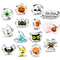 112 Pcs Halloween Cookie Cutters Set, Whaline 12 Pcs Stainless Steel Biscuit Molds Cutters and 100 Pcs Halloween Candy Bags for Kitchen Baking Tools(Pumpkin,Bat,Ghost,Spider,Skull,Witch Hat,Owl,etc)