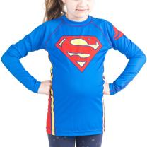 Fusion Superman Logo Kids Rash Guard Compression Shirt -Long Sleeve