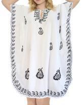 LA LEELA Women's Midi Caftan Dress Tops Beach Swimwear Cover Ups Embroidery A