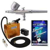 Master Airbrush Multi-Purpose Gold Airbrushing System Kit with Portable Mini Air Compressor - Gravity Feed Dual-Action Airbrush, Hose, How-to-Airbrush Guide Booklet - Hobby, Cake Decorating, Tattoo