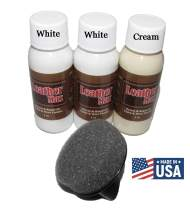 Leather Max Quick Blend Refinish and Repair Kit, Restore Couches, Recolor Furniture & Repair Car Seats, Jackets, Sofa, Boots / 3 Color Shades to Blend with/Leather Vinyl Bonded and More (White Mix)
