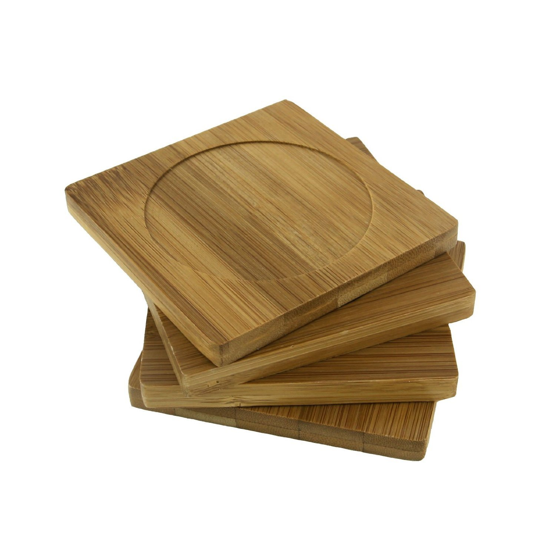 "BambooMN Brand - Heavy Duty 100% Eco-Friendly Natural Bamboo Coaster Set - 4"" x 4"" Square - 3 Sets of 4"