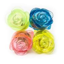 Fun Central 24 Pack - LED Flashing Jelly Flower Rings Bulk Party Favors for Valentine's Day - Assorted Color