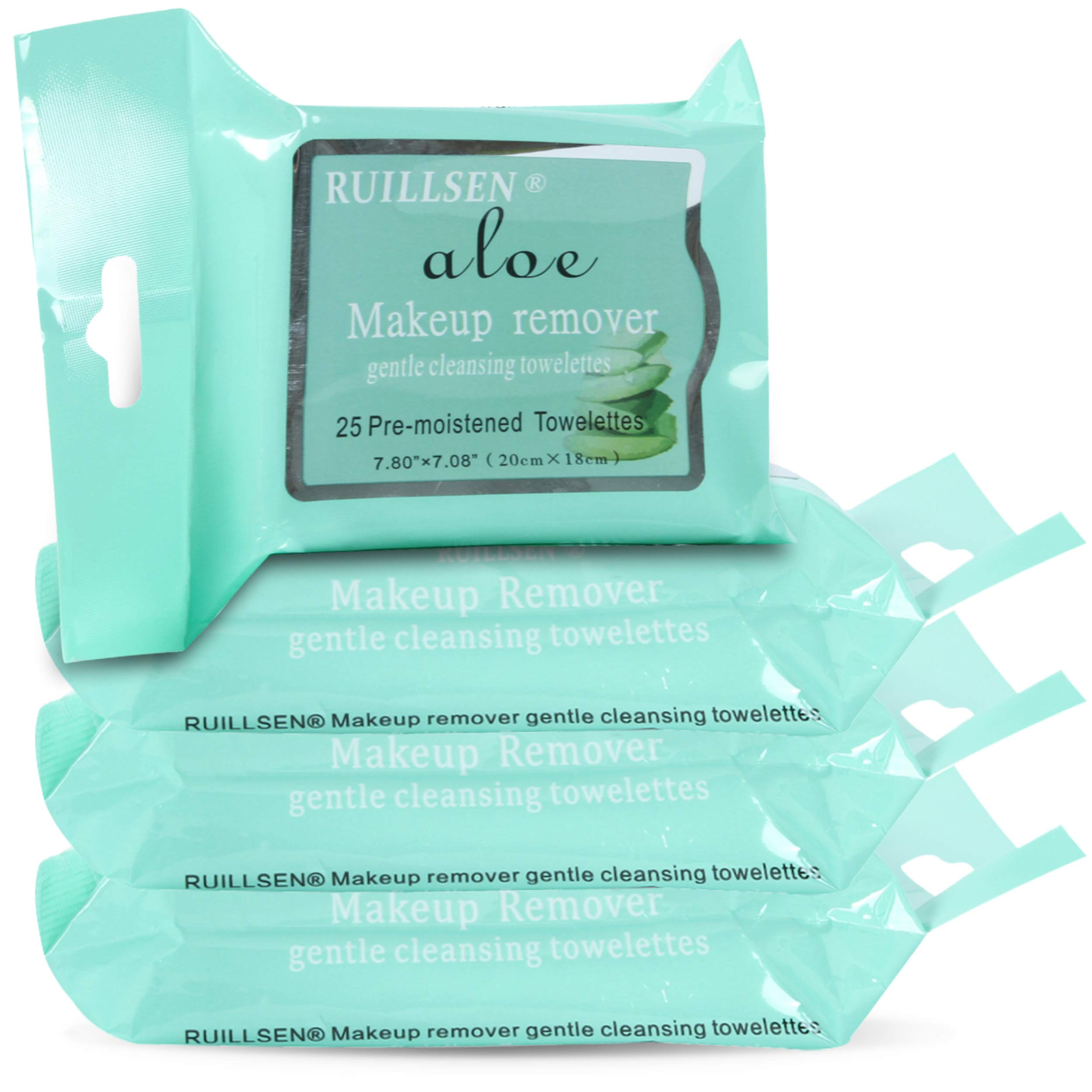 RUILLSEN Makeup Remover Cleansing Towelettes, Waterful Gentle Daily Face Wipes to Remove Dirt, Oil, Water Activated Cloths Makeup & Waterproof Mascara for Sensitive Skin(Aloe Flavored,25 Ct,4 Pks)