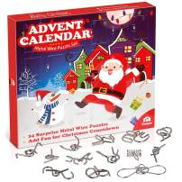Coogam Metal Wire Puzzle Toys Advent Calendar, 2019 Christmas Countdown Calendar Decoration Gift Box Set of 24pcs Brain Teaser Toy for Count Down Xmas Holiday Décor Party Favor Kids Adults Challenge