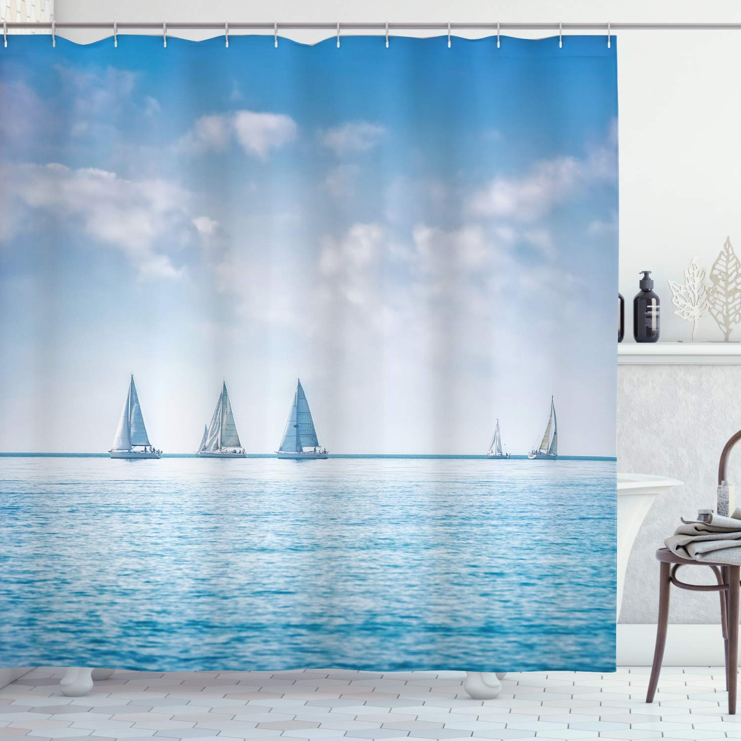 """Ambesonne Ocean Shower Curtain, Sail Boats Sea Regatta Race Sports Panoramic View Seascape Summer Sky Photo, Cloth Fabric Bathroom Decor Set with Hooks, 84"""" Long Extra, Blue White"""
