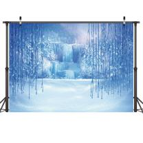 LYWYGG 8X6FT Ice and Snow White World Photography Backdrops Background Christmas Winter Frozen Snow Ice Crystal Pendant World for Children Photo Studio Props Backdrop CP-12-0806