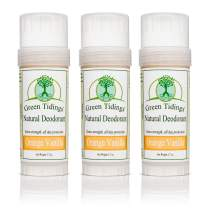 Green Tidings Natural Deodorant - Orange Vanilla 2.7 oz. (3 Pack) - Extra Strength, All Day Protection - Vegan - Cruelty-Free - Aluminum Free - Paraben Free -Organic- Non-Toxic - Solid Lotion Bar Tube