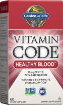 Garden of Life Iron Supplement - Vitamin Code Healthy Blood Raw Whole Food Vitamin, Vegan, 60 Capsules *Packaging May Vary*