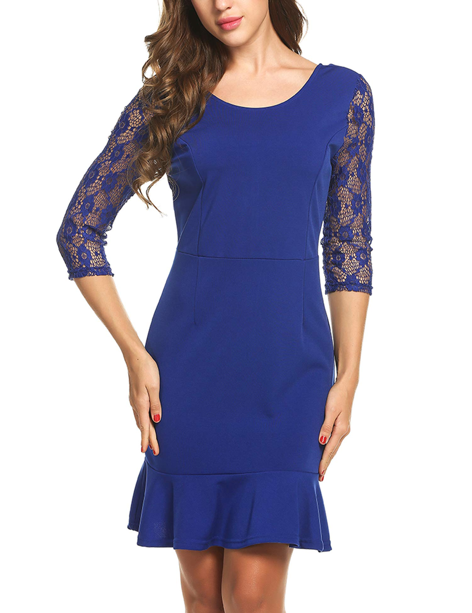 ANGVNS Women's 3/4 Sleeve Square Neck Package Hip Knee Length Floral Lace Pencil Party Dress
