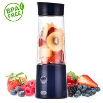 Portable Blender, TOPQSC Personal Blender 5200 mAh USB Rechargeable, 13.5oz Smoothie Blender Single Serve, Stainless blades 16500rpm,Perfect for Smoothies and Shakes, Baby Food, FDA/BPA Free (Blue)