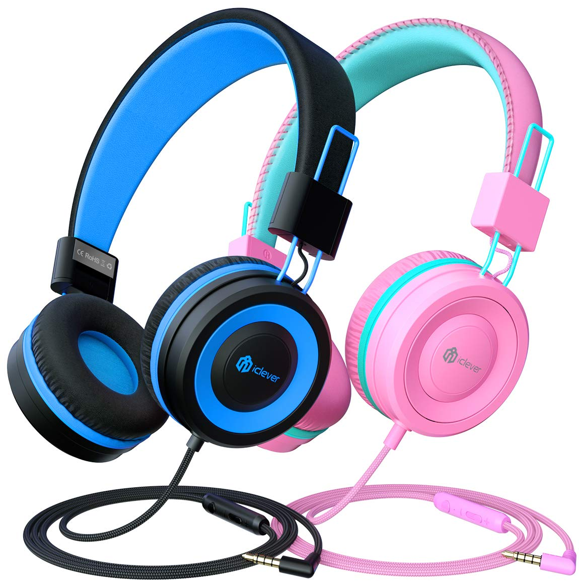 iClever Kids Headphones 2 Pack - Wired Headphones for Kids with MIC, Volume Control Adjustable Headband, Foldable - on Ear Headphones Kids for School iPad Tablet Airplane,Blue/Pink