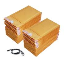 50#000 4x8 Kraft Bubble Mailers Padded Envelopes 4 X 8 + Free MicroUSB Cable