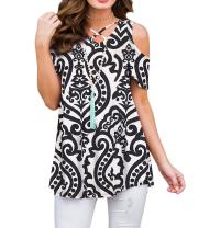 ZZER Women's Casual Cold Shoulder Tunic Tops V-Neck Criss Cross T-Shirts Blouses