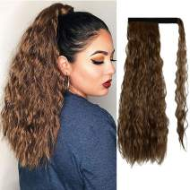 Sofeiyan Ponytail Extension 20 Inch Long Curly Wave Wrap Around Synthetic Hair Extension for White Black Women Party Daily Use, Medium Brown & Light Auburn Mixed
