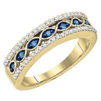 Dazzlingrock Collection 10K Round Gemstone & White Diamond Ladies Vintage Anniversary Wedding Band, Yellow Gold