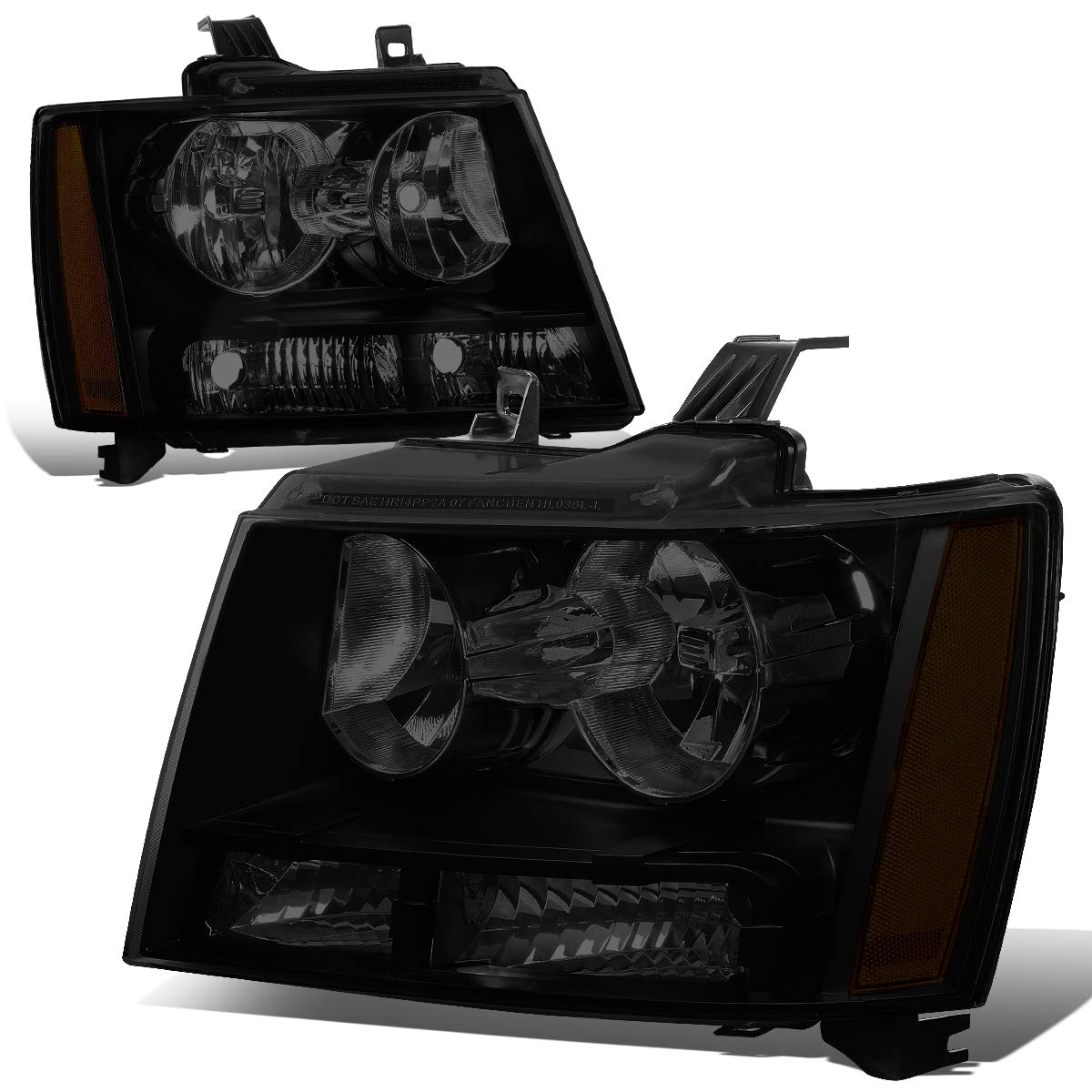 Pair of Smoked Lens Amber Corner Headlight Assembly Lamps Replacement for Chevy Tahoe Suburban Avalanche 07-14