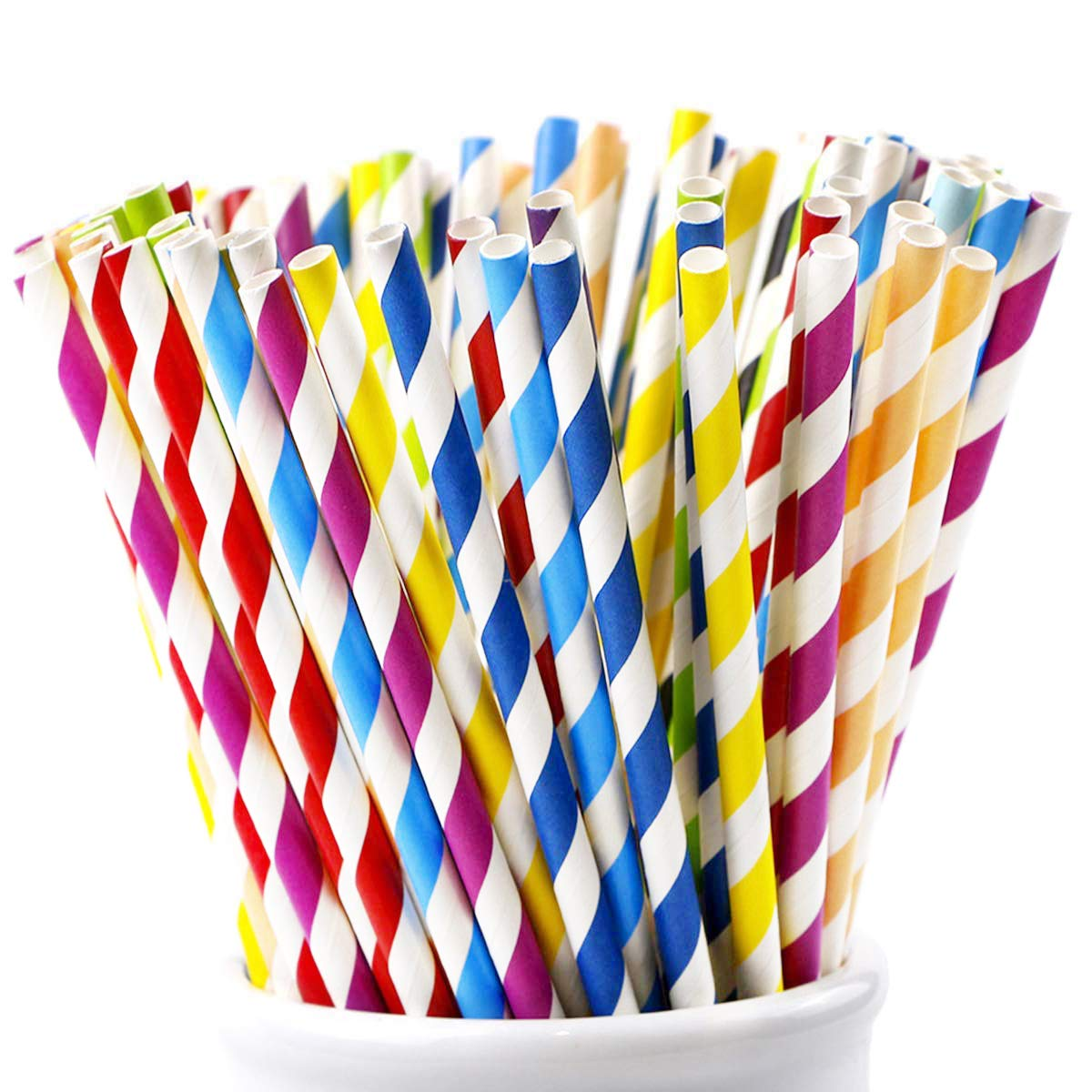 Webake Paper Straws Biodegradable Bulk 175 Pack Rainbow Striped Drinking Straws, Eco Friendly Straw Christmas Decorations for Party, Cake Topper, Cake Pop Sticks, DIY (Assorted Colors)