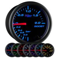"GlowShift Black 7 Color 2.0 BAR Boost/Vacuum Gauge Kit - Includes Mechanical Hose & Fittings - Black Dial - Clear Lens - for Car & Truck - 2-1/16"" 52mm"