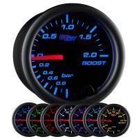 "GlowShift Black 7 Color 2.0 BAR Boost/Vacuum Gauge Kit - Includes Mechanical Hose & Fittings - Black Dial - Clear Lens - for Car & Truck - 2-1/16"" 52mm"