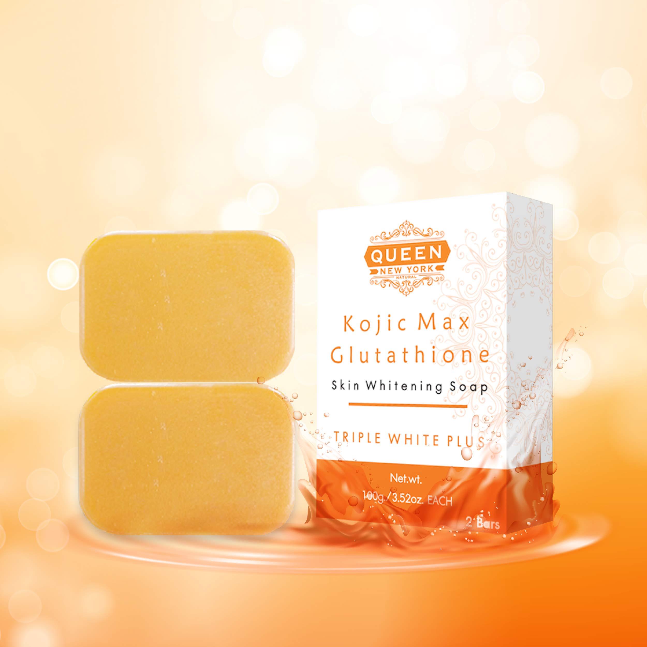 QUEEN Natural Skin Whitening Soap Bar Triple White Plus WHIPP Soap Premium formula with Delicate Net for Softening Whip Foam (Kojic+Gluta, 2 Bars+Mesh)