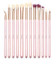 Qivange Eye Makeup Brushes, Eyeshadow Concealer Eyeliner Makeup Brush Set with Portable Pouch (12pcs, Pink with Rose Gold)