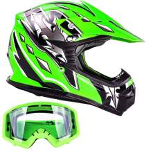 Kids Youth Offroad Gear Combo Helmet & Goggles DOT Motocross ATV Dirt Bike MX Motorcycle Green w/Green, Small