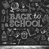 AOFOTO 6x6ft Back to School Backdrop Chalk Drawing Chalkboard Blackboard Painting Photography Background Classroom Study Teacher Classmate Education Student Girl Boy Kid Photo Studio Props Wallpaper