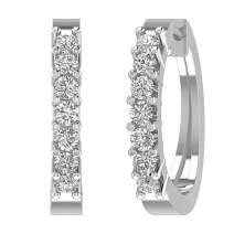 14K Gold Diamond Hoop Earrings (3/4 Carat)