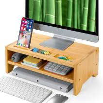 2-Tier Bamboo Desk Monitor Riser Stand - Desk Storage Organizer for Home and Office Computer Desk Laptop Cellphone Printer Stand Desktop Container by Amada HOMEFURNISHING-AMBMS05