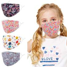 Genovega 4Pcs Kids Cute Face Mask with Adjustable Ear Loops for Protection